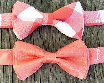 coral bowties, coral bow tie, coral groomsmen ties, boy's coral tie, coral and navy wedding, coral gray wedding, coral and mint, coral ties