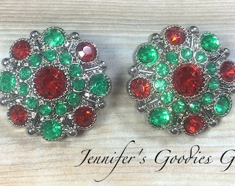 Stargazer Acrylic Buttons with Shank, 28mm, Set of 2, Kelly Green and Red, Christmas Buttons, Rhinestone Buttons, Flower Centers