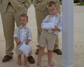 Natural Linen shorts, bow tie and suspenders, Beach Wedding, Ring Bearer Clothing, many colors...3m,6m,9m,12m,18m,2t,3t,4t,5,6,7,8,10,12