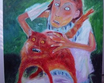 Bathing of the Red Cat Elena Schumacher Oil on canvas reproduction Купание красного кота Елена Шумахер