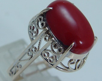 Vintage 14K Yellow Gold Filigree Red Coral Ring Square Band Jewelry