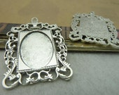 5pcs 35x45mm-inner18x25mm Antique Silver Oval Filigree Cameo Cabochon Base Setting Pendants charm pendant