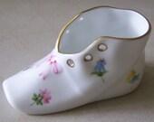 Vintage Hand Painted Herend Porcelain Flowered Shoe