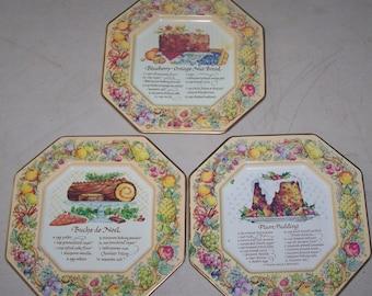 Vintage Three Piece Avon Recipe Metal Plates 1982