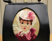 vintage 50s black frame kelly satchel bag purse needlepoint lady on the front unqiue  vegan