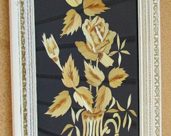 vintage 50s bamboo  flower picture framed mid century modern oriental theme
