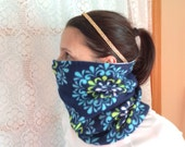 Blue Flower, Running Scarf, cowl, gator, Ski Mask, snood, tube scarf