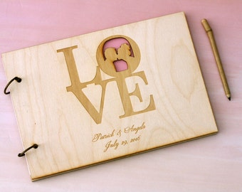 YOUR OWN Silhouettes on Custom Rustic Wood Wedding Guest Book