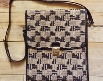 French Designer Jacques Esterel 1960s Shoulder Bag Sacoche & Logo Signature Monogram - Leather and Canvas - MADE IN FRANCE