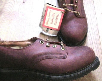 Carolina 1960s Men Safety Toe Workwear Leather Shoes - Red Burgundy - Made in the USA - NEW & TAG in Vintage Box - Men 7W