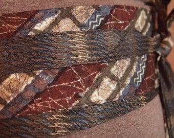 Fossilized - Vintage Upcycled Neckties Obi Corset Belt Brown Grey Navy