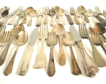 Tarnished Silverware Set Mismatched Silverplate Silver Service for 12, 16, 10, 8, 6, 4 or More