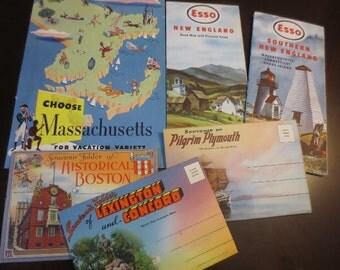 Vintage Massachusetts Paper Ephemera Travel Brochures Esso Maps Tourist Travel Postcards Souvenir Folders Lot of 6