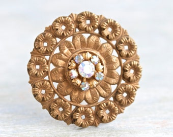 Copper and Rhinestones Lapel Pin - Antique Round Brooch
