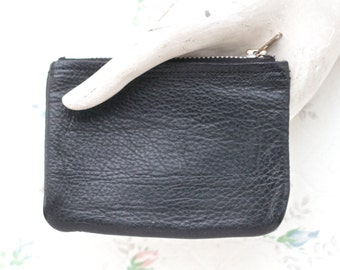 Black Leather Coin Purse - Vintage Classic Change Wallet