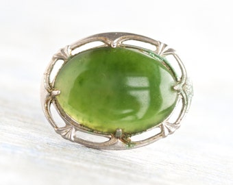 Jade and  Sterling Silver Lapel Pin - Antique Brooch signed L.s.p. co