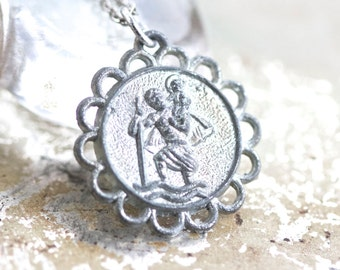 St Christopher Medallion Necklace - Oxidized Silver Toned - Religious Icon