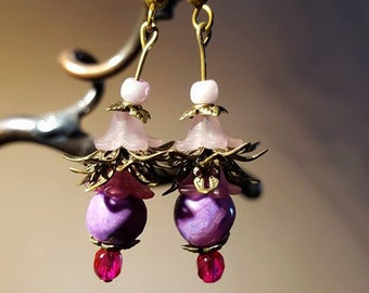 Fuschia pink and purple floral fairy dangles