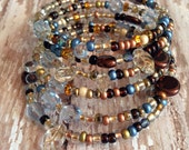 Memory Wire Bracelet in Tans and Blue Mixed Glass Beads- Driftwood