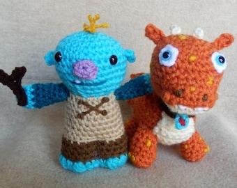 Set of Two Made to Order Hand crocheted Wallykazam like Amigurumi Dolls  Wally Trollman and Norville Dragon