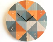 Objectify Grid Grey/Orange With Numerals Plywood Wall Clock - Large