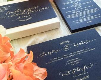 Handwritten Calligraphy Wedding Invitation - Custom Design - Letterpress, Foil press, or Digital Files