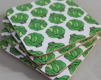 Brussel Sprout Coaster Set - Christmas coaster set  - illustrated homeware - Christmas home decor - Holiday Home decor - Brussel Sprouts