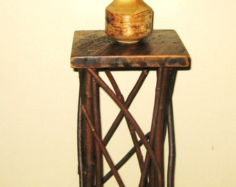WOOD PLANT STAND / Side Table / Occassional Table / Folk Art / Primitive / Reclaimed Lumber / Twigs / Tramp Art