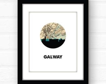Galway, Ireland map print | Galway, Ireland print | Ireland poster | travel poster | Ireland art | Ireland travel print | Ireland wall art