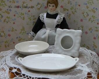 Vintage larger scale porcelain/ceramic dollhouse items