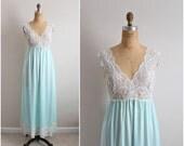 60s Seafoam Slip Dress/ Wedding Nightgown / Shadowline/ 1960s Lace Slip Dress /  Vintage Nightgown