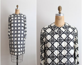 60s Carlye Mod Dress / Black and White Geometric Dress / Party dress / Size S/M