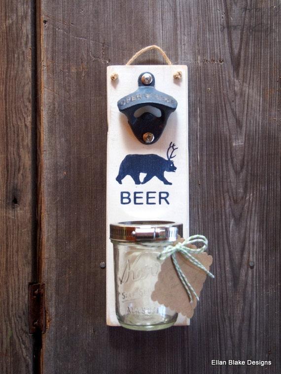 wood wall mounted bottle opener hand painted beer bear deer. Black Bedroom Furniture Sets. Home Design Ideas
