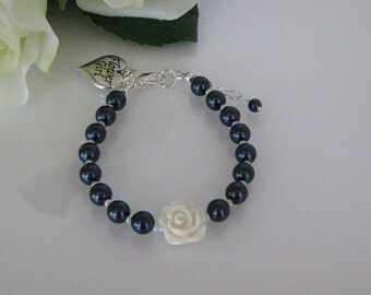 Flower Girl Bracelet, Navy Flower Girl Bracelet, Pearl Flower Girl Bracelet, Flower Girl Jewelry, Junior Bridesmaid Jewelry