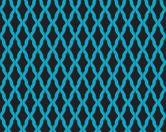05060 -Camelot Fabrics Kabloom Harlequin in black and blue color    - 1 yard