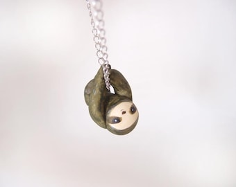 Miniature sloth necklace -green