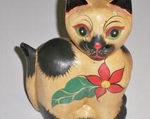 1940s Burmese Cat Figurine, Wood Pulp and Papier-Maché, Handmade Laquered Paper Mache Cat Figurine, Kitten Feline Figurine.