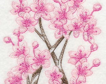 Towering Cherry Blossom Embroidered Flour Sack Hand/Dish Towel