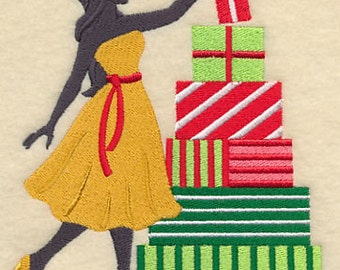 Christmas Fashionista Shopper Presents Gifts Embroidered Flour Sack Hand/Dish Towel