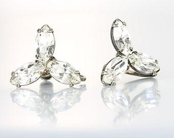 Marquis Rhinestone Earrings. Three stone Crystal Sterling silver Earrings. Vintage 1950s jewelry