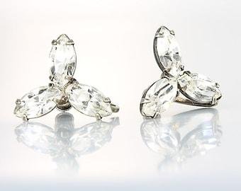 Sterling silver Crystal Earrings. Three stone Marquis Rhinestone Vintage jewelry