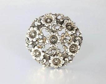 Forget me Not Flower Wreath Brooch, silver 835 Vintage Brooch. German European silver