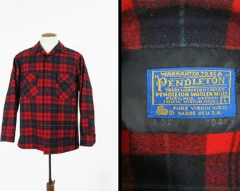 Vintage 70s Pendleton Red Shirt Wool Loop Collar Plaid Made in USA - Size Large