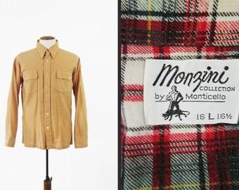 Vintage 70s Chamois Shirt Flannel Lined Monzini Khaki Westernwear - Men's Large