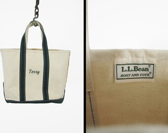 Vintage LL Bean Tote Bag Canvas Green Boat and Tote 1980s