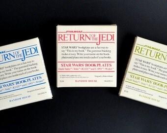 Vintage Star Wars Bookplates ROTJ 3 Set Darth Vader Yoda R2-D2 and C-3PO Random House Lucasfilm