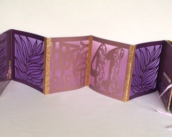 HAPPY 40+ B-DAY Accordion Book-Card Original Design w/Leaves & Letters Cutouts w/Cello Backs CUSTOM ORDeR HANDMADe in Gold and Purples OOaK