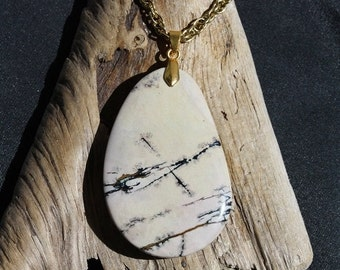 Back from vacation sale - Picture Jasper Necklace - Item 1240