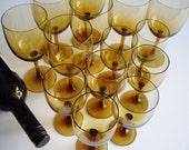 Vintage, Wine Glasses, Amber, White Wine, Red Wine, Set of 14, Large Wine Glass Set, Mid Century