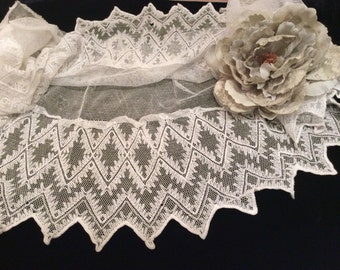 Vintage Wide  White Cotton Embroidered Net Lace, Antique Lace, Vintage Netting, Wedding Lace,   Embroidered Lace,Bridal Lace, Net Lace